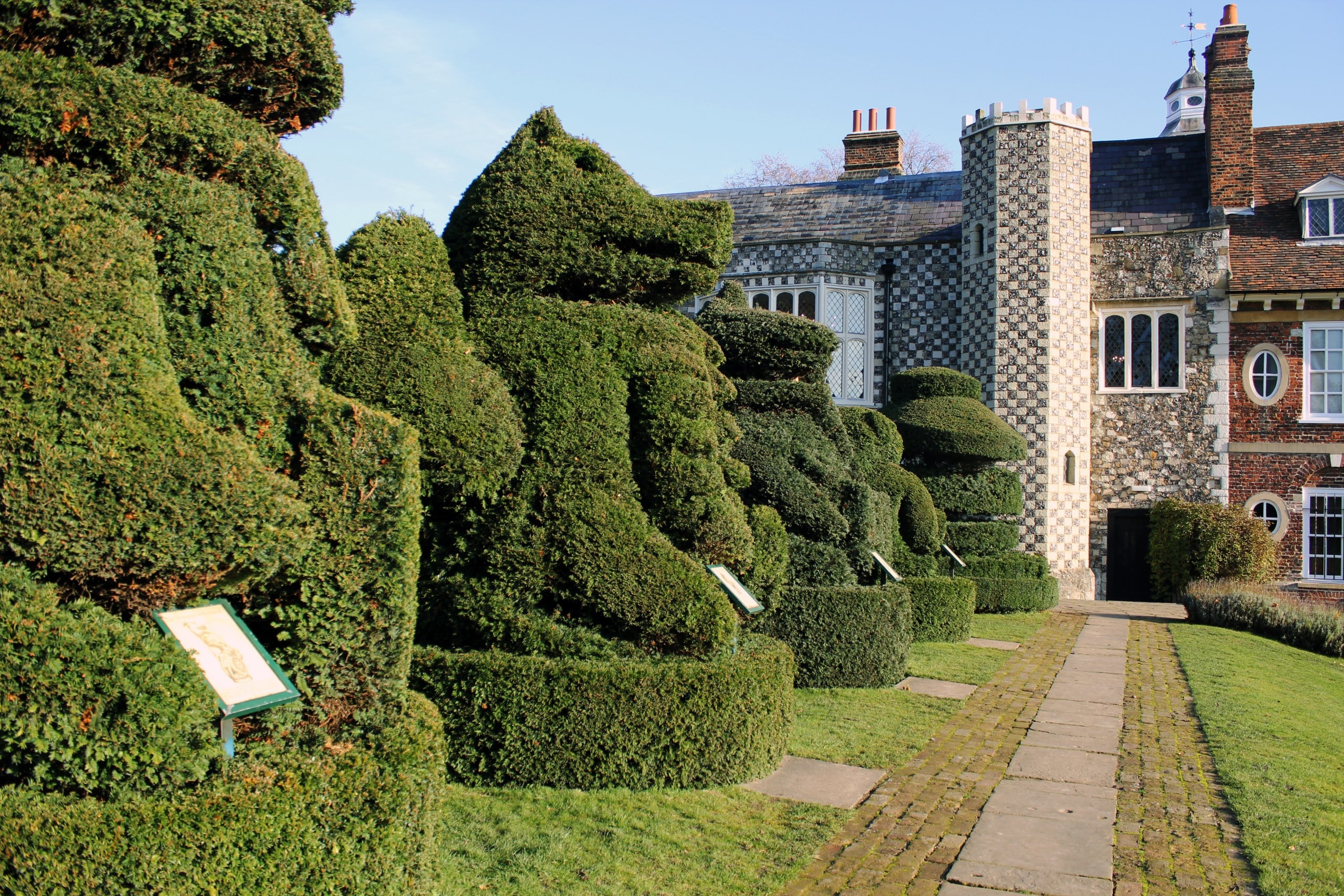 Hedges in gardens at Hall Place in Bexleyheath, Kent